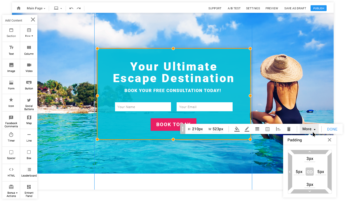 Website Redesign - Imagery: Landing Page Editor