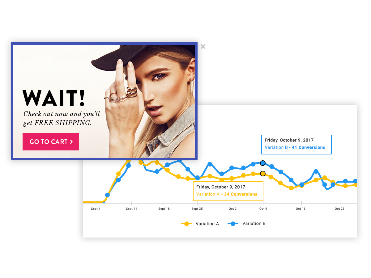 Website Redesign - Imagery: Popup and A/B Test Graph