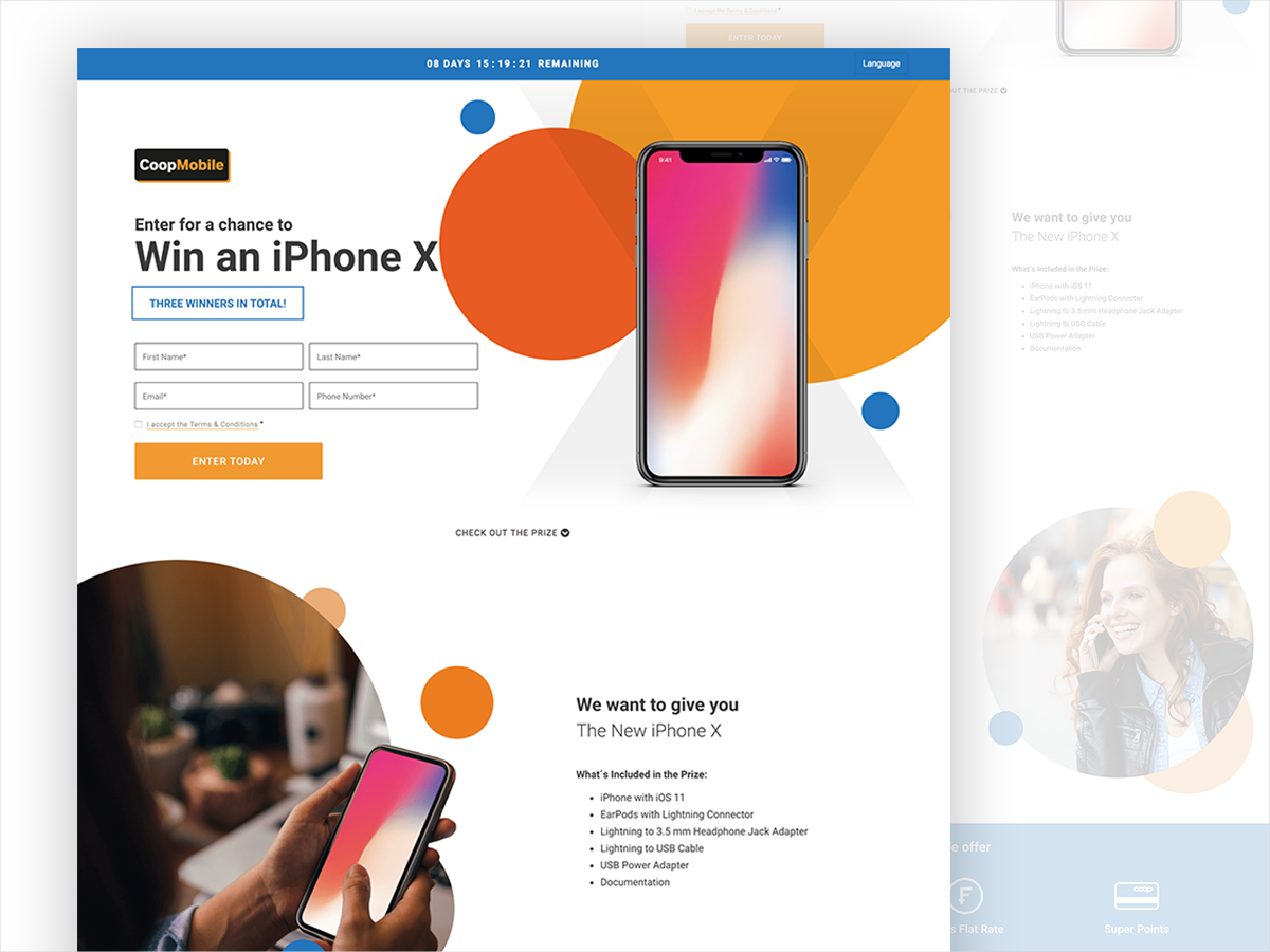 CoopMobile - Contest Landing Page